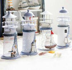 Mediterranean Style Seagull Sailboat Lighthouse Candle Holder Lantern