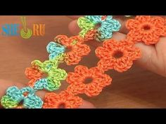 ▶ Crochet Floral Cord Lace Tutorial 51 Small Six-Petal Flowers - YouTube