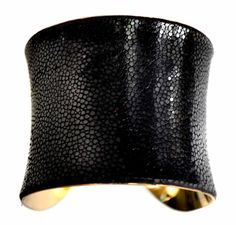 Black Polished Stingray Gold Lined Cuff Bracelet - by UNEARTHED on Etsy, $90.00