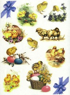 Ricepaper/Decoupage paper, Scrapbooking Sheets Vintage Easter Chicks with Eggs