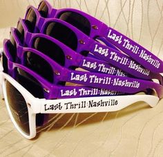 Music City is calling your name girls and guys! These unique sunnies are HANDWRITTEN by me per order!! Acrylic/vinyl lettering and stickers (that the customer applies in some cases) have a tendency to peel off. This is why I chose to hand write on each pair individually. This also allows you the freedom to put whatever you like on each side! I can fit up to 20 characters (regular size font), spaces included, on each side. 21-28 characters will be smaller lettering and is an additional .25…