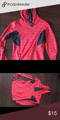Nice hooded work out top Pink/coral very nice hooded work out top. Never worn. Has zippered pocket in the back to put key credit cards etc. Tops Sweatshirts & Hoodies