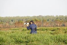 Chris Purnell from BirdLife Australia photographs yellow chats | Image credit Peyer Kyne #BirdWeek #Kakadu