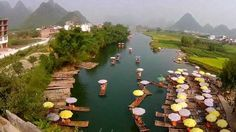 River Li and Yangshuo Town in China.  5 Beautiful drone videos of UNESCO World Heritage Sites