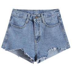 Women Pockets Pure Color Irregular Hem Denim Shorts (415 MXN) ❤ liked on Polyvore featuring shorts, bottoms, newchic, pocket shorts, light blue shorts, dark blue shorts, dark blue denim shorts and jean shorts