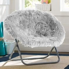Gray Fur-Rific Hang-A-Round Chair | PBteen