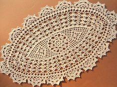 Handmade crochet doily color - ecru 100 % - cotton thread size - 18  x 11  ( 46 cm . x 28 )