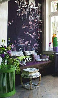 Last Trending Get all images asian home decor ideas Viral modern asian decor Inspiration Wall, Interior Inspiration, Monochromatic Room, Asian Home Decor, Wall Decor, Room Decor, Chinoiserie Chic, Of Wallpaper, Purple Wallpaper