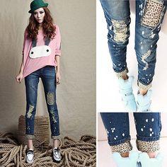 Sexy Frauen Mode Nette Leopard-Loch Damen Schlank Bleistift Jeans Skinny Hosen in Kleidung & Accessoires, Damenmode, Jeans | eBay