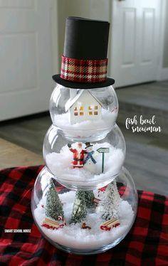 """""""¡GUAOO Qué Gran Idea! Crea Hermosas Decoraciones Navideñas En Forma De Muñeco De Nieve Con Peceras De Cristal """"   Puras Manualidades"""