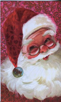 Vintage Christmas Card - Santa Claus on Pink Background