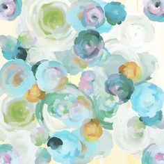 Blue Floral Art Print 6x6 Giclee Print by ParimaCreativeStudio, $24.00