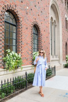Jessica Sturdy wearing a blue and white midi dress from the Nordstrom Anniversary Sale. Business Chic, Light Blue Shirts, Striped Shirt Dress, White Midi Dress, Nordstrom Anniversary Sale, Dress Outfits, Dresses, What I Wore, Summer Outfits