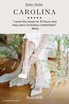 Bella Belle bride Molly wore Carolina T strap heels Ivory Wedding Shoes With Pearls for 10 hours on her wedding day! Comfortable and pretty wedding heels are possible. Wedding Heels, Ivory Wedding, Wedding Day, Comfortable Bridal Shoes, T Strap Heels, Pearls, Lace, Pretty, How To Wear