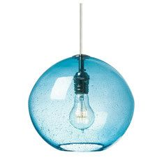 For a fun kitchen update try this Scuba Blue glass pendant over an island, sink, or in a pantry.