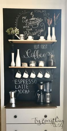 Cool DIY coffee station ideas that you can make at using old furniture at home Tags coffee station ideas coffee bar ideas DIY coffee station beverage bar beverage station Coffee Area, Coffee Nook, Coffee Corner, Coffee Cups, Espresso Coffee, Iced Coffee, Coffee Drinks, Coffee Bar Station, Home Coffee Stations