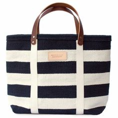 Black Striped Tote with Leather Handles from Truck and Barter @truckandbarter