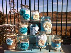Tiffany Blue Wedding. Rustic Wedding Mason Jars. Rustic Wedding Decor.