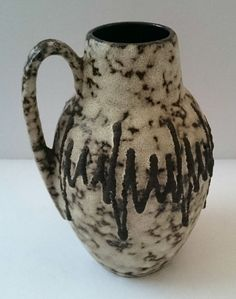Scheurich West German Pottery Mid Century 60s Fat Lava Era Jug Vase Grey Zig Zag