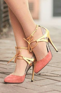 Gold and pastel heels.