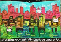 """Nathalie Kalbach - My City Speaks to Me by Michelle Rydell.  It'sTuesday, so it's time for myCreative Squadtoshare a project with youwith this month's theme:""""My City Speaks to Me"""". Michelle Rydell's tutorial  info on Nathalie Kalbach's website."""