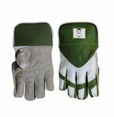 AM Green White Gloves Keeper For Cricket Players