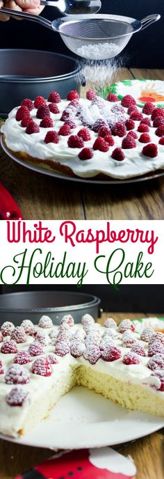Fluffy White Raspberry Holiday Cake. Light as air fluffy tender and moist white cake with vanilla cream and fresh raspberries. Easy, quick and totally festive for the Holidays! A family recipe that evolved over the years. #ad #BigLotsHoliday @biglots  #www.twopurplefigs.com