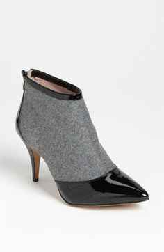 ['Onda' Bootie - Vince Camuto @ Nordstrom] Flannel, patent, AND the perfect heel height in my favorite bootie shape! Also love the leather tipping, and the exposed zipper on the patent panel at the back.