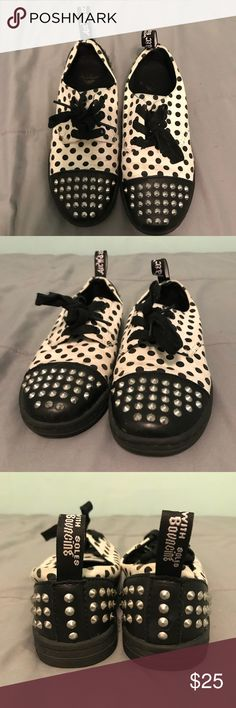 Dr. Martens Sneakers Perfect kicks for knocking around. The black and white contrast with studs is so much fun. Gently used. Feel free to ask questions. Dr. Martens Shoes Sneakers