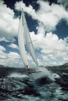 Holly Vrotsos Aboard The Sailboat Antares On A Rough Sea Photo by Bill Curtsinger. Segel Tattoo, Rough Seas, Yacht Boat, Sail Away, Set Sail, Tall Ships, Catamaran, Water Crafts, Sailing Ships