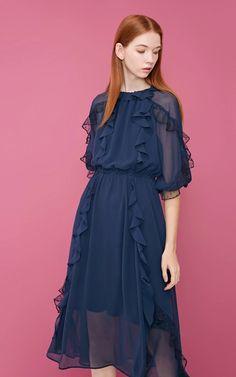 Vero Moda Round Neckline Ruffled High-rise Dress - HD VOGUE Vogue, Neckline, Ruffle Blouse, Woman, Tops, Dresses, Fashion, Vestidos, Moda