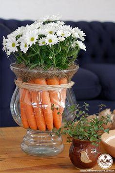 Como fazer arranjo com cenouras-  Passo a passo com fotos - How make a carrot arrangement - DIY tutorial  - Madame Criativa - www.madamecriativa.com.br