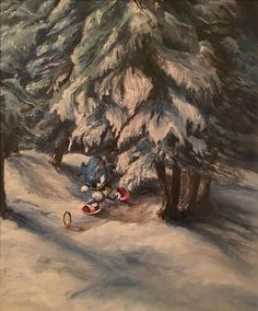 Painted Sonic into an old thrift painting. - Imgur