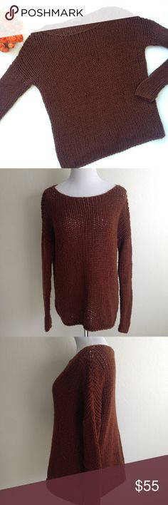 """VINCE. Wool Chunky Knit Sweater Perfectly simple and sophisticated, this chocolate brown pullover cable knit braided wool blend sweater from Vince will keep you warm and cozy! Scoop neck, 90% wool 10% polyamide hand wash. Approx flat meas: length 25"""", bust 20.5"""", sleeve 21"""", waist 19"""", hem 21.5"""". No rips stains or holes, but some pilling due to wear. Braiding may have some inconsistencies throughout due to nature of the weave. Vince Sweaters Crew & Scoop Necks"""