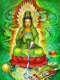 Déesse Kuan Yin Poster Print spirituelle art par HalstenbergStudio