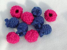 These are so clever and cute! - free crochet pattern raspberries and blueberries over at Tangled Happy.