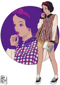 Snow White- Snow White and the Seven Dwarfs as a modern college student.