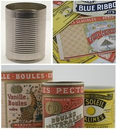 Recycle tin cans w/ vintage labels. Inspiration only- where to find vintage labels in another pin.