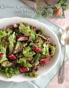 Quinoa, Cucumber and Radish Salad with Miso Vinaigrette | Taking On Magazines | www.takingonmagazines.com | This is a perfect salad for a party or picnic. It's packed with flavor, looks amazing and can sit outside because it's mayo-free.