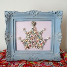 Pearl Crown  Pink and Blue Nursery Art  Princess by berryisland