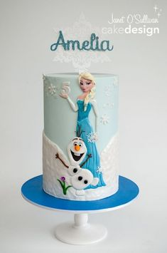 Frozen Themed Princess Elsa Cake - For all your cake decorating supplies, please… Disney Frozen Cake, Frozen Theme Cake, Disney Cakes, Disney Olaf, Baby Cakes, Girl Cakes, Birthday Cake Girls, Frozen Birthday, Birthday Cakes