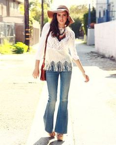 Another 60ish outfit. Genetic Denim Fever Pants for forty nine. Add a colorful tribal necklace like the one she is wearing, floppy hat, shoulder bag, some cool sandals, white top with fringe and all you will need are your tickets !!!! (to the music festival, food festival, etc. of your choice.)