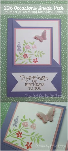 2016 Occasions Sneak Peek - click the Pin for more info | Birthday Blooms and Number of Year Corner Fold Birthday Card | Katie Legge rachelleggestampinup.wordpress.com #2016Occasions #2016SaleABration #StampinUp