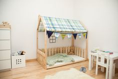 Twin size children house bed with fabric roof / Montessori toy / Montessori furniture