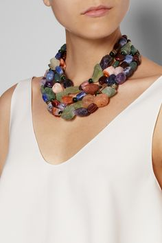 Etro|Tiger's eye, sodalite and amethyst necklace|NET-A-PORTER.COM