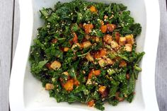Packed with fibre, vitamins, minerals andproteins,this vegetarian Kale Salad With Roasted Butternut and Peanut Tofu makes a healthy and delicious Autumn Salad.