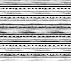 Drawn Stripe- Black and White fabric by leanne on Spoonflower - custom fabric aztec stripes nursery fabrics