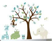 Nursery wall decal - Jungle wall art safari owl decal tree. $144.00, via Etsy.