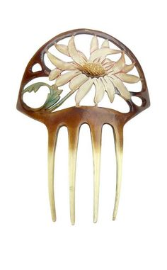 Art Nouveau Hand carved and Tinted Floral Design Horn Hair Comb.