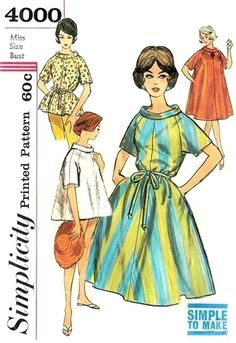 """1961 Misses' Pop-On in Two Lengths: """"Simple to Make"""". Pop-on has roll collar, raglan sleeves and corded self belt. Longer length pop-on has side seam pockets. 8 pattern pieces. CynicalGirl Bust 34"""